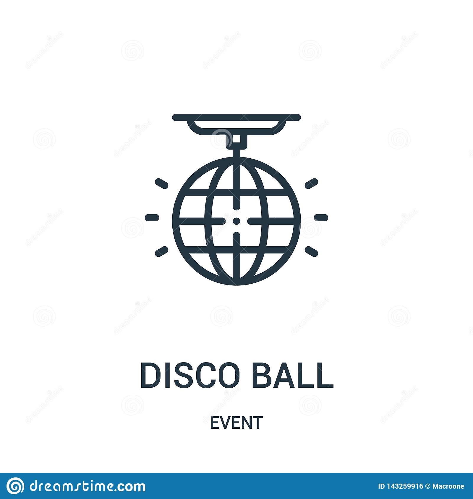 disco ball icon vector from event collection. Thin line disco ball outline icon vector illustration