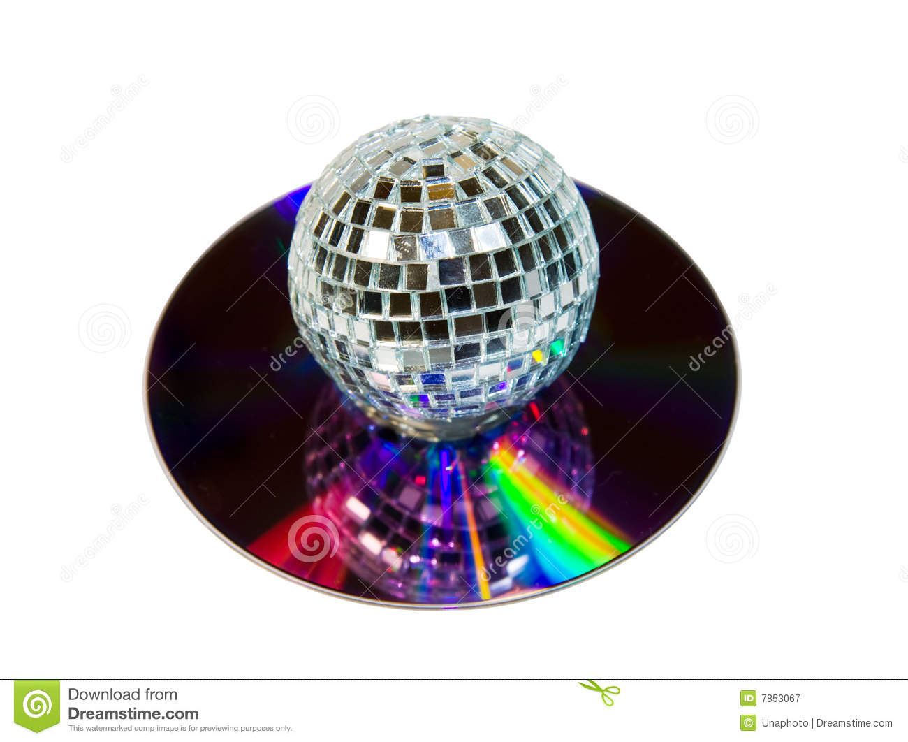 Disco Ball with music CD isolated over white