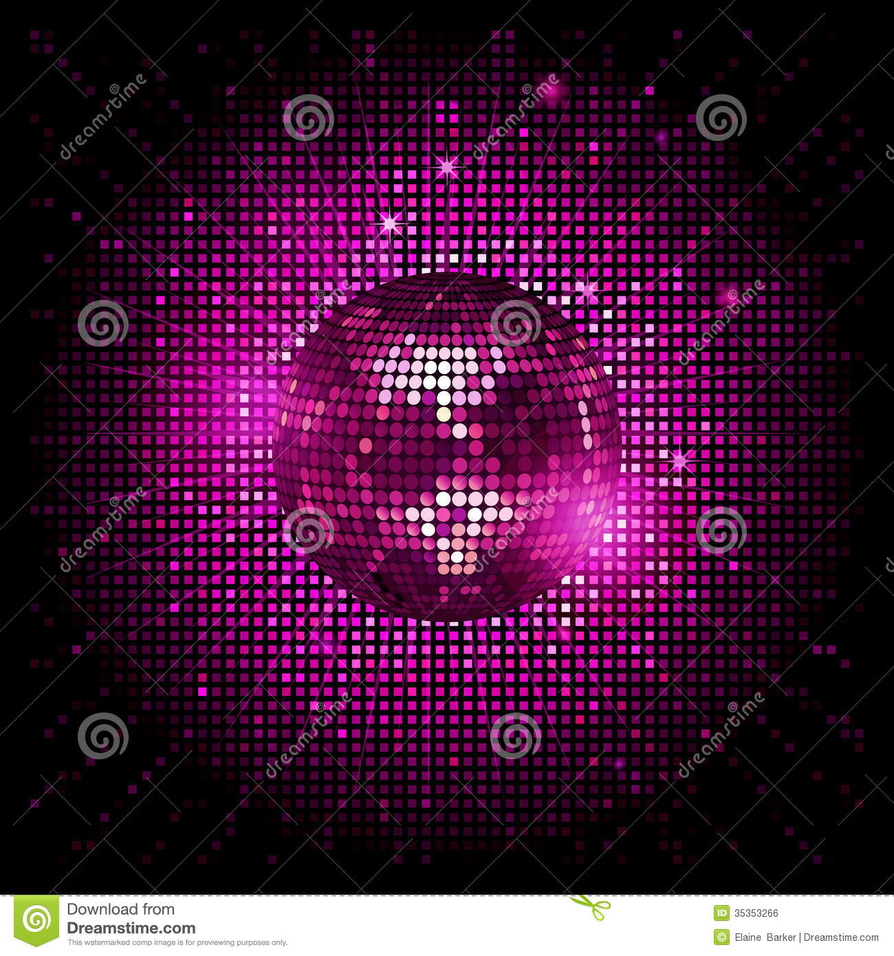 Disco Ball Pink Party Background Ai Stock Vector Image