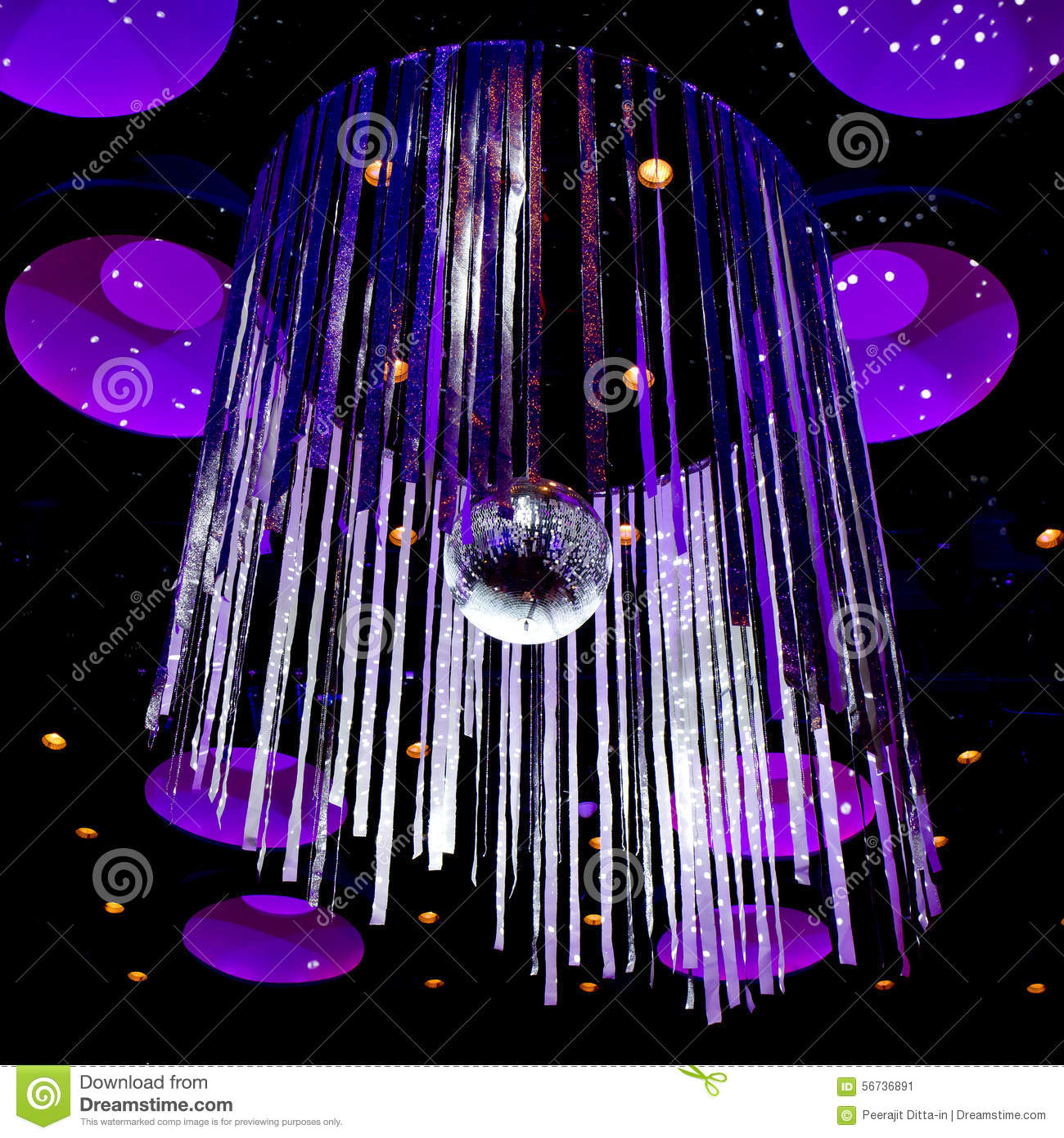 disco ball with silver sparkle ribbon background stock