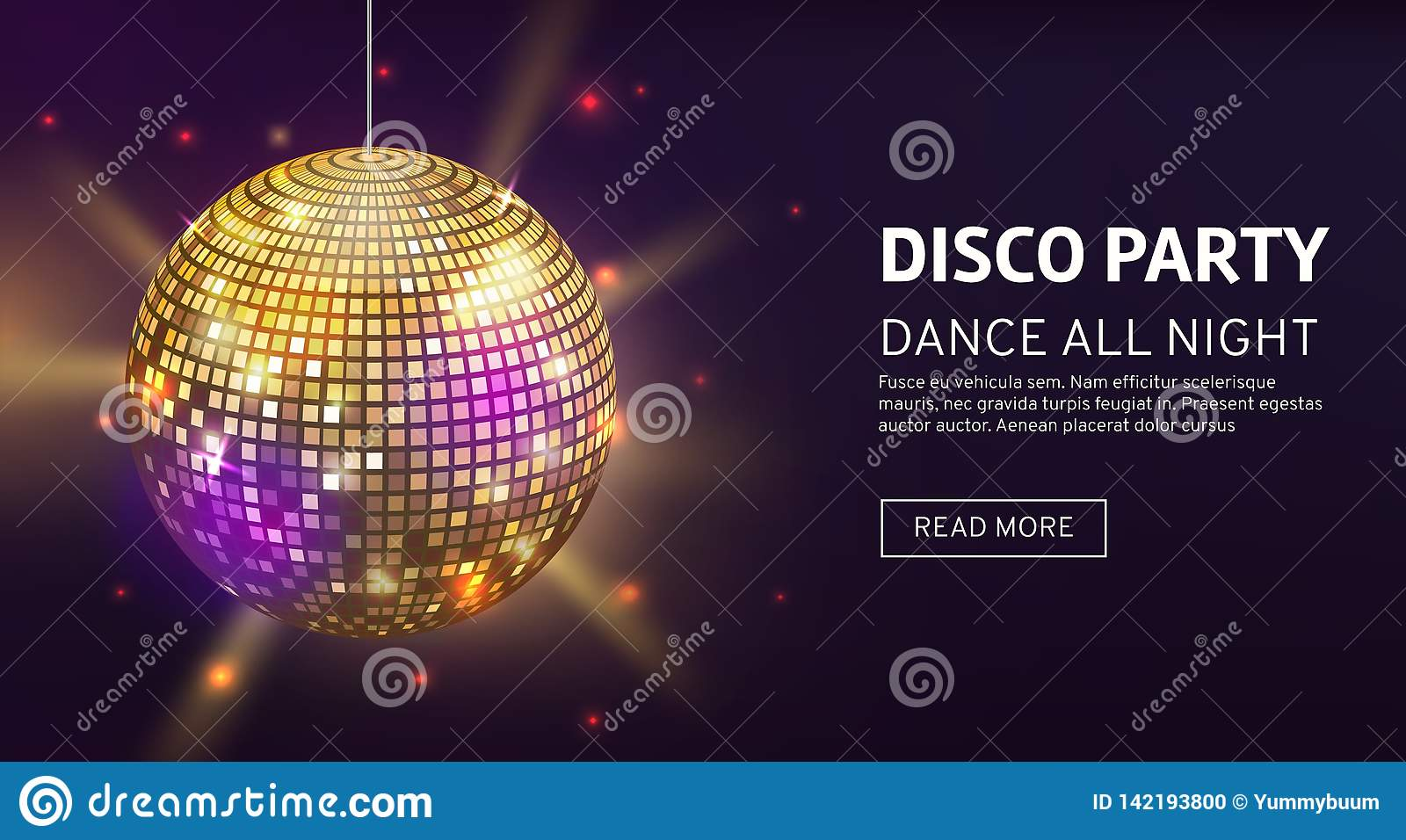 Disco banner. Mirrorball party disco ball invitation card celebration fashion partying poster template dance club