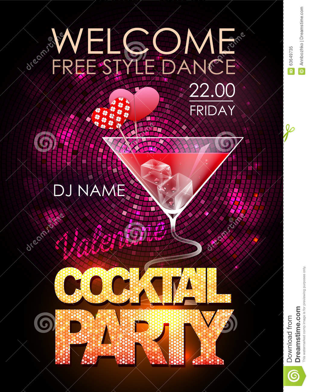 disco cocktail party poster stock vector illustration 63649735. Black Bedroom Furniture Sets. Home Design Ideas