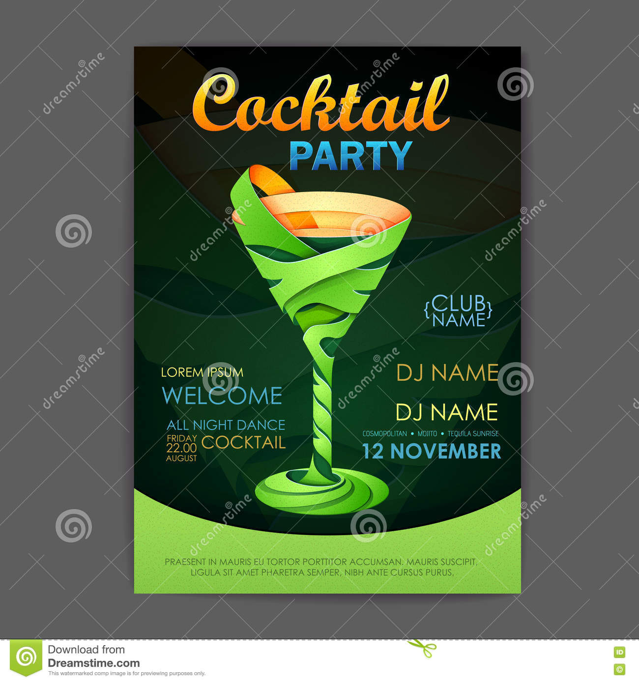 disco cocktail party poster 3d cocktail stock photo image 77466336. Black Bedroom Furniture Sets. Home Design Ideas