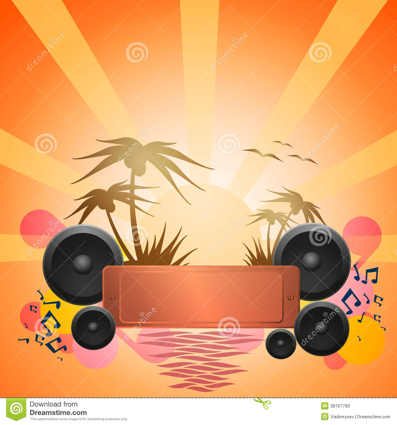 Disco Dance Tropical Music Flyer Stock Vector Image