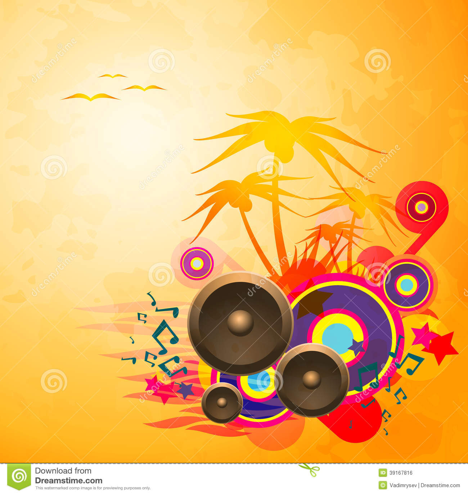 Disco Dance Tropical Music Flyer. Stock Vector - Image