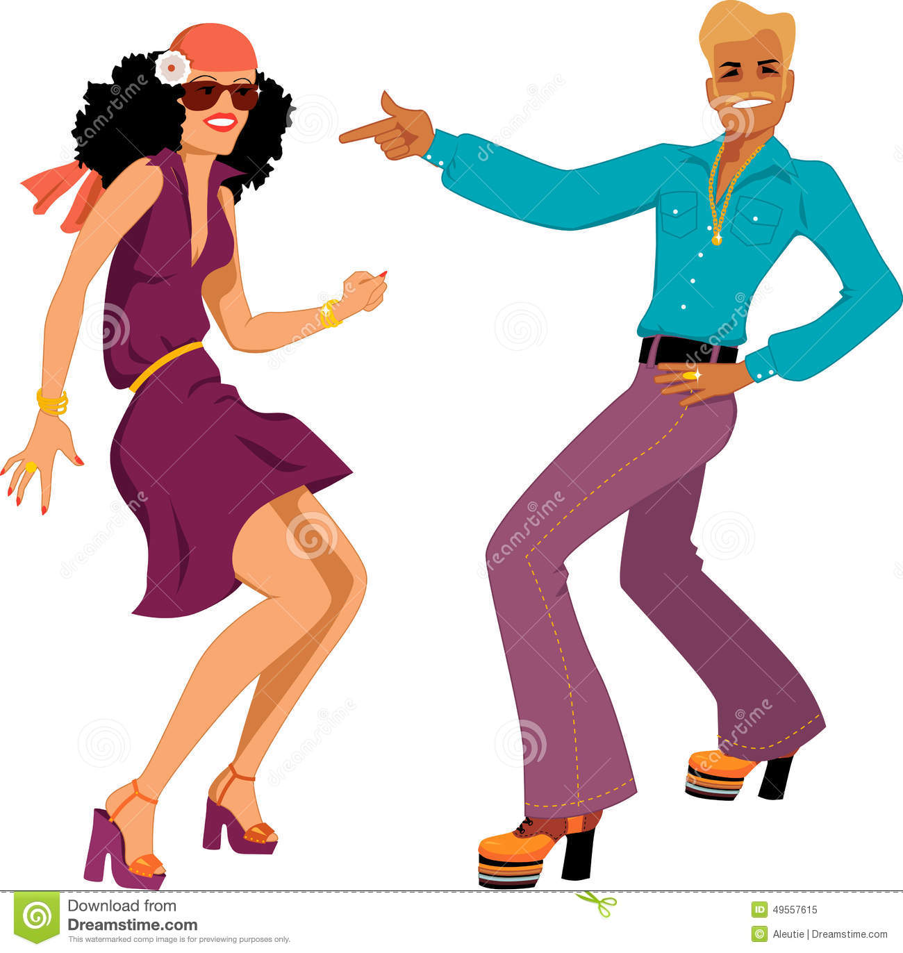 Young Caucasian couple dressed in 1970s fashion dancing disco, vector ...