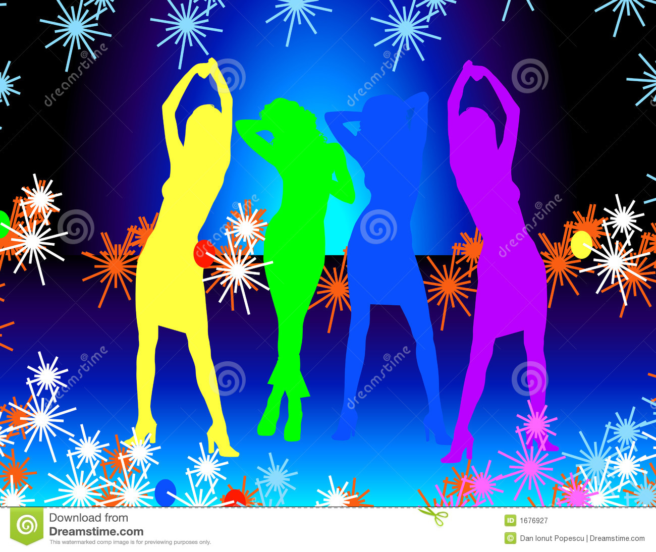Design A House For Fun Disco Amp Dancing Girls Royalty Free Stock Photography