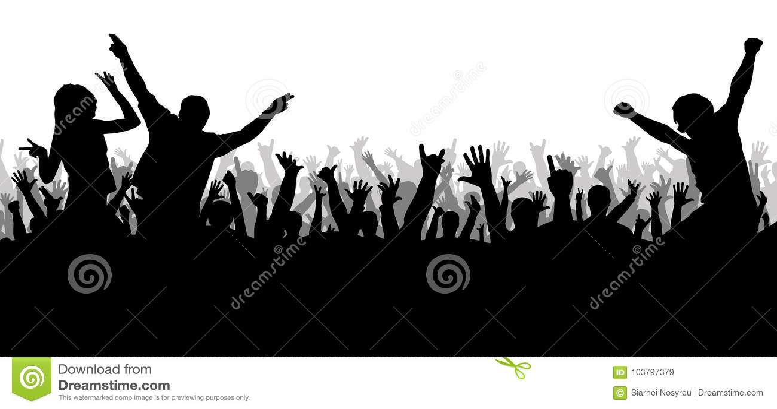 Disco de concert, silhouette de danse de foule
