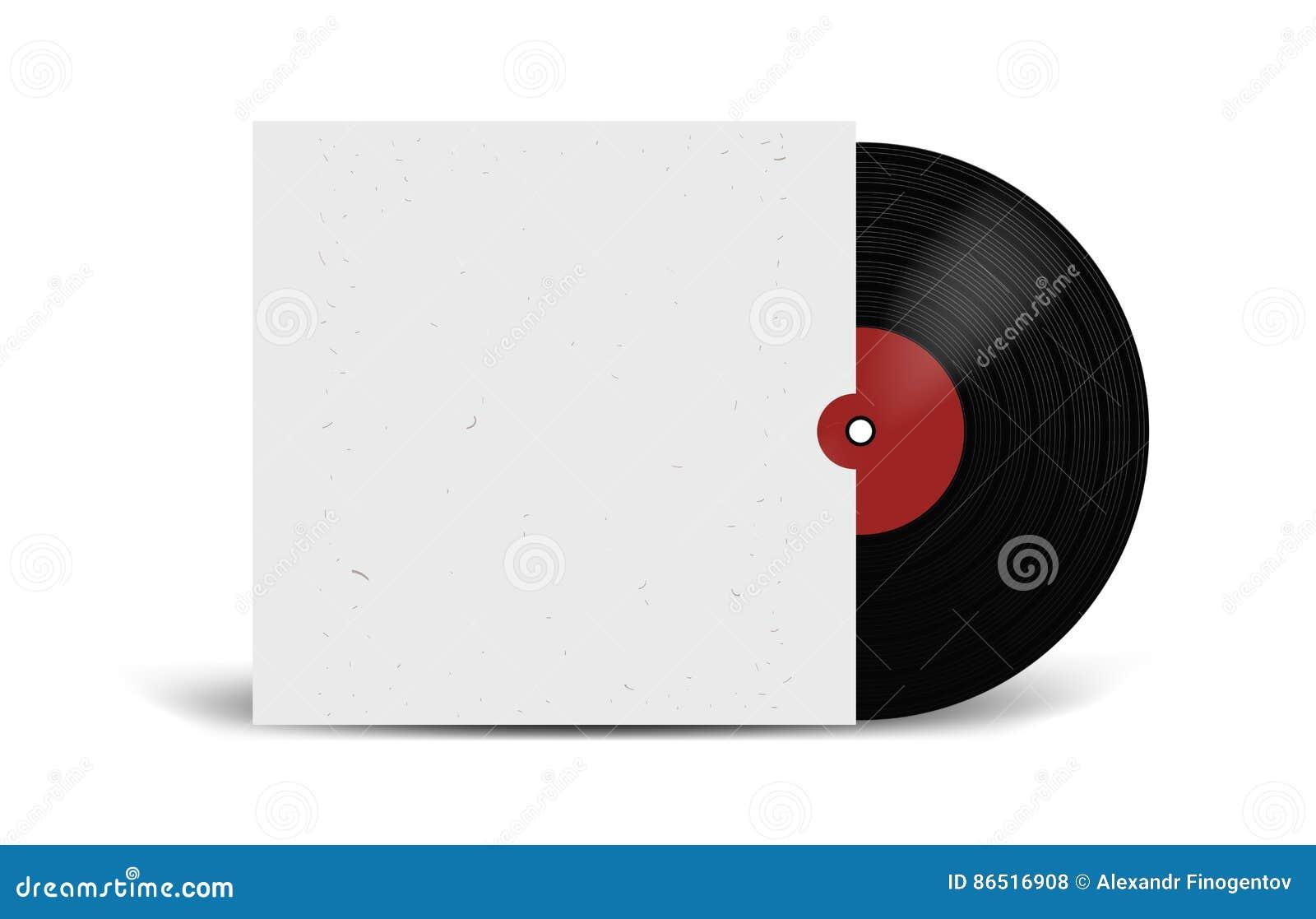 Disco de vinilo realista con la maqueta de la cubierta Partido del disco Diseño retro Front View