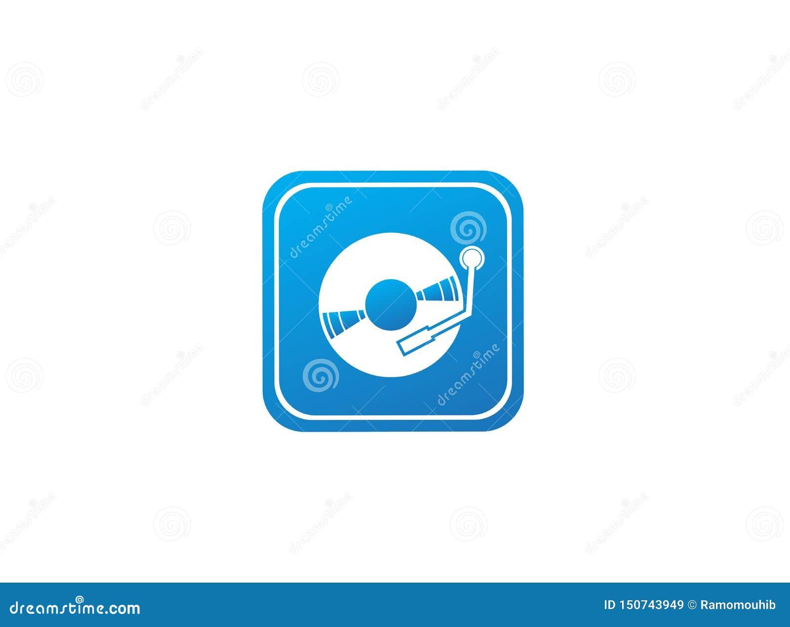 Disco del vinilo para el ejemplo de mezcla del diseño del logotipo de la música de DJ en la forma