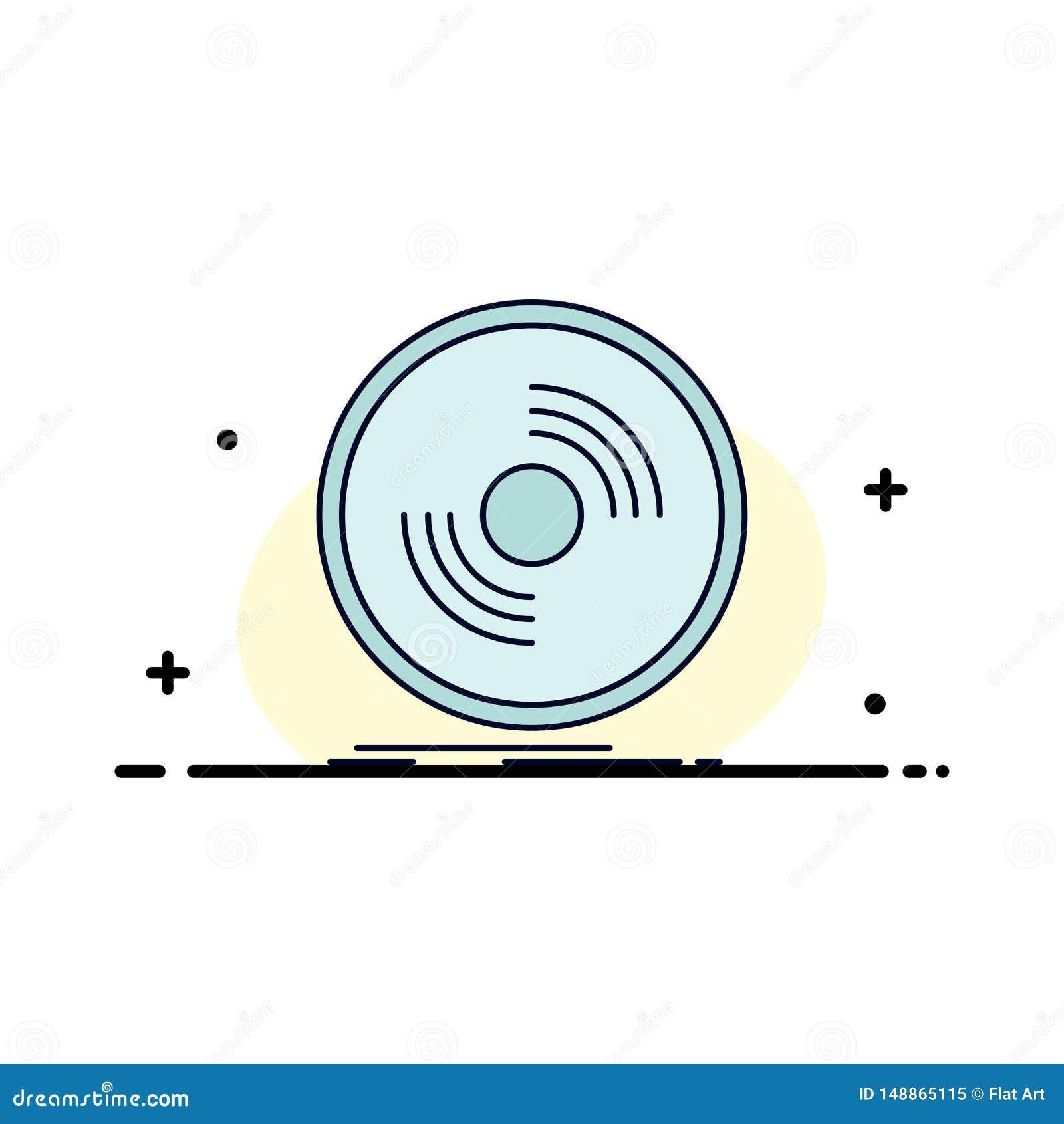 Disco, DJ, fonógrafo, expediente, vector plano del icono del color del vinilo