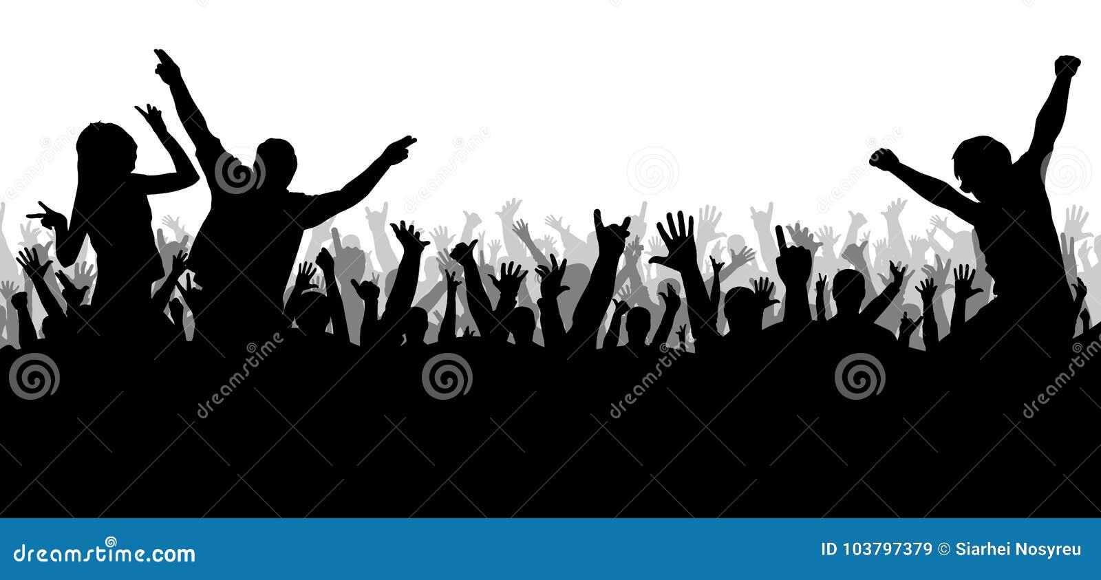 Disco do concerto, silhueta de dança da multidão