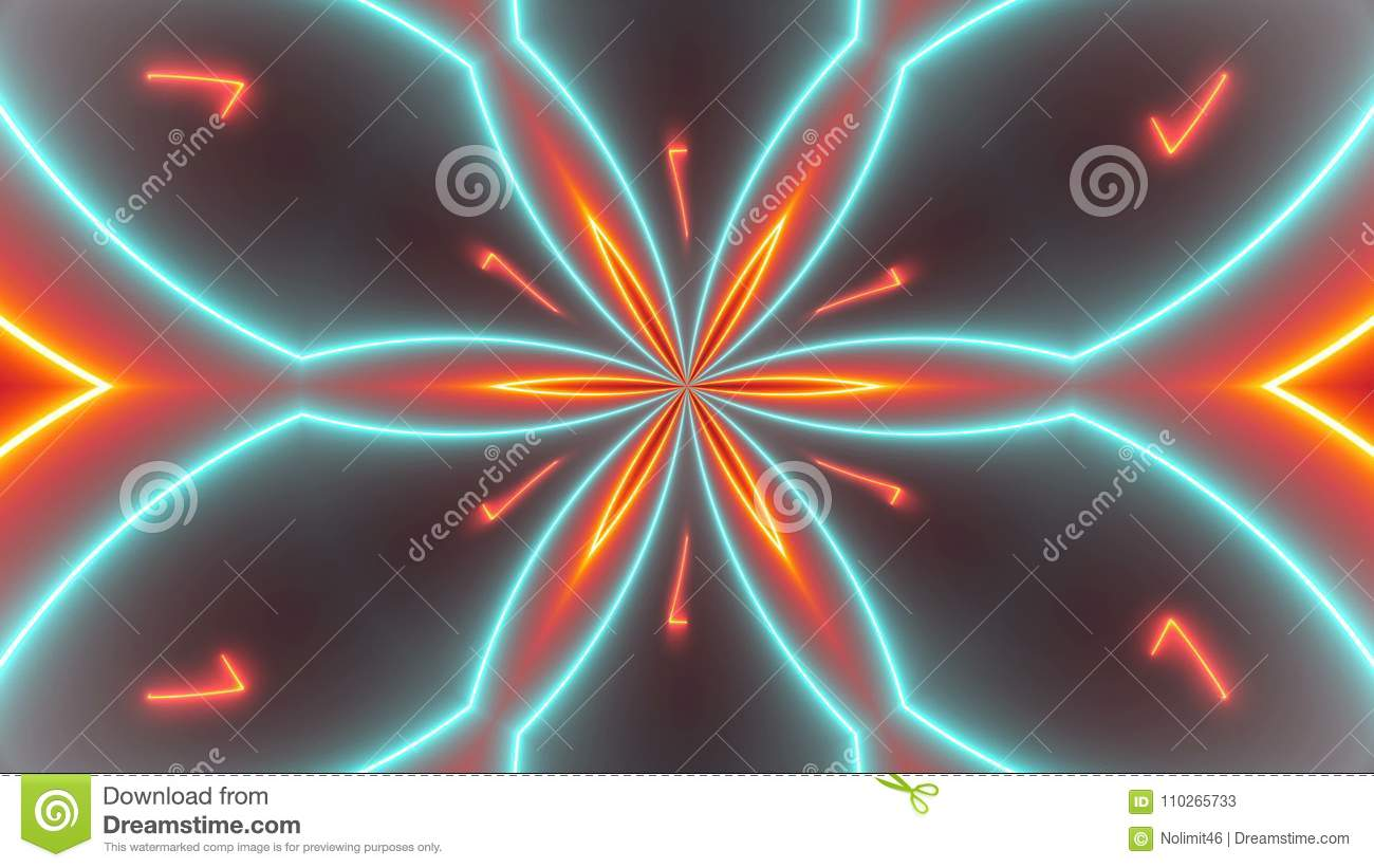 Disco kaleidoscopes background with glowing neon colorful lines and geometric shapes
