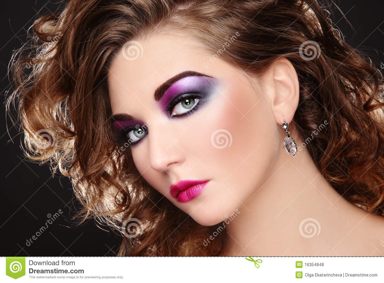 Beautiful Young Girl With Glowing Colorful Disco Make Up And Curly Hairstyle