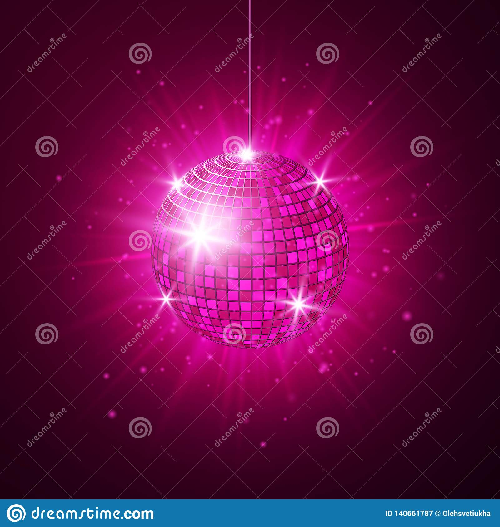 Disco Or Mirror Ball With Bright Rays Music And Dance Night Party