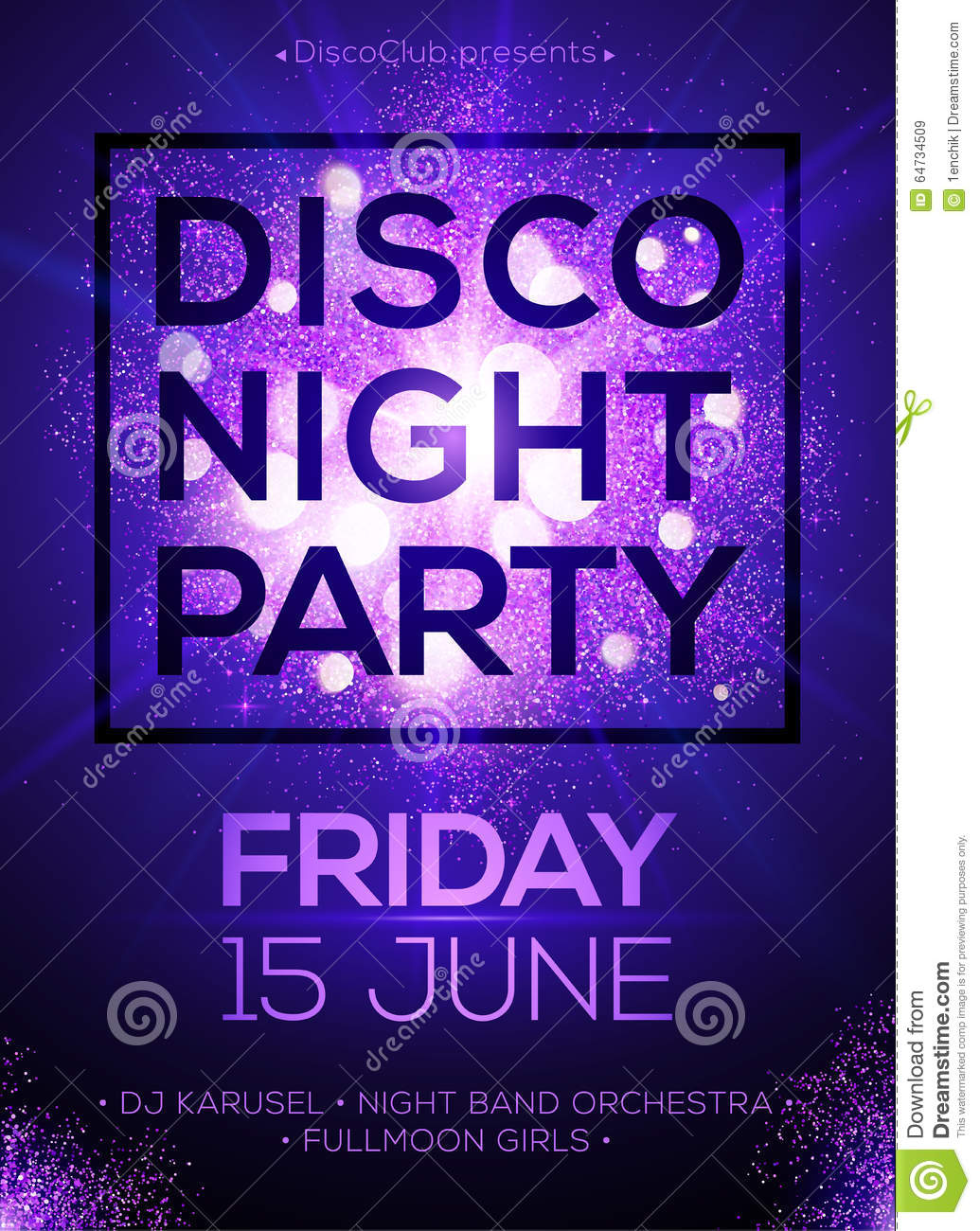 disco night party poster template with shining stock vector