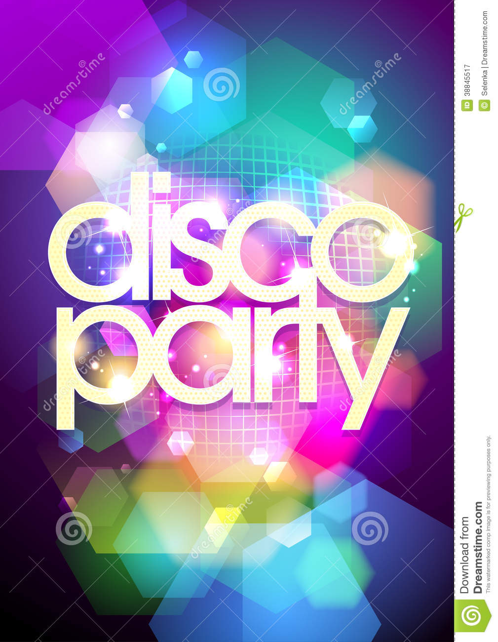 Disco Party Design On A Bokeh Background. Stock Vector - Image: 38845517