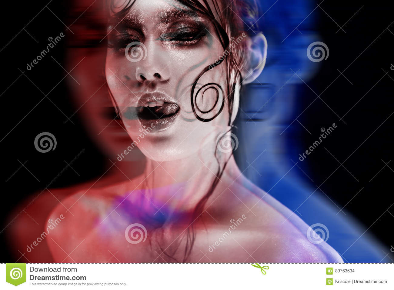 Disco-portrait with stereo effect, 3D. Beautiful girl bright makeup with a wet look shine, dark background
