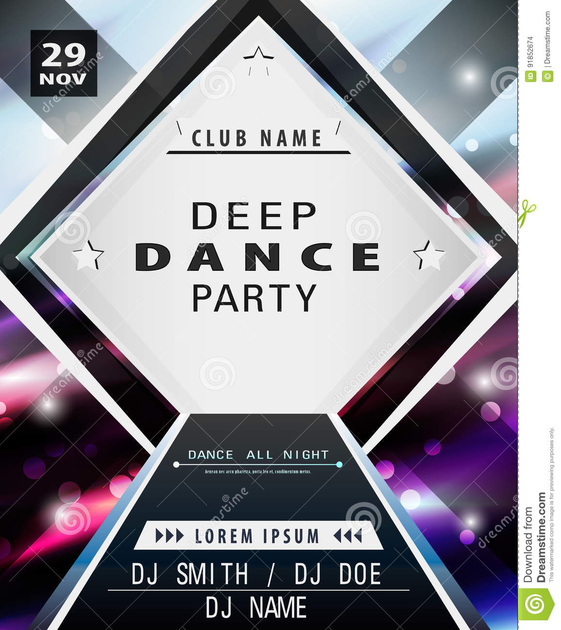 Disco poster template stock vector. Illustration of background ...