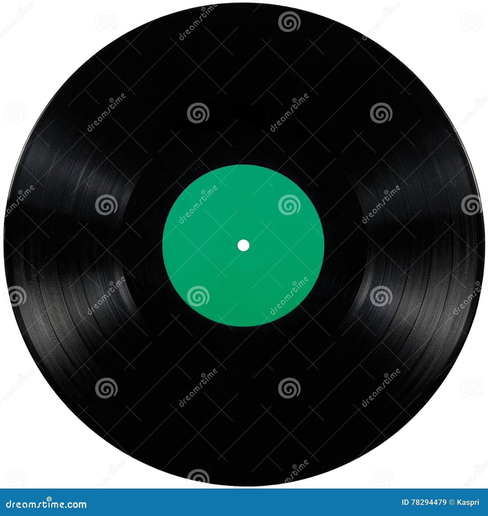 Disco preto do álbum do lp do registro de vinil, grande disco isolado detalhado do jogo longo, espaço verde vazio vazio da cópia