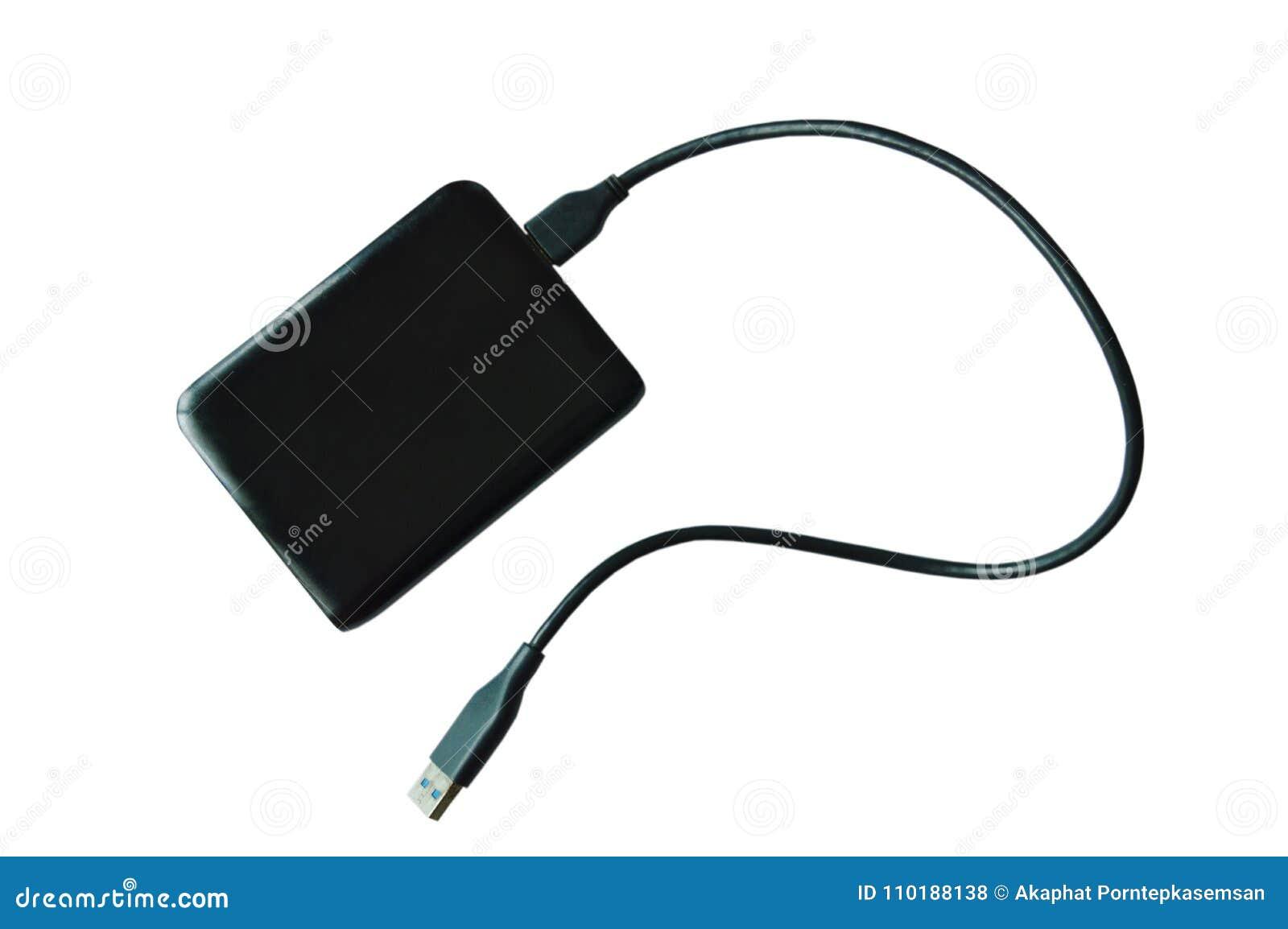 Disco rigido esterno dell Universal Serial Bus nero che si collega al computer su fondo bianco