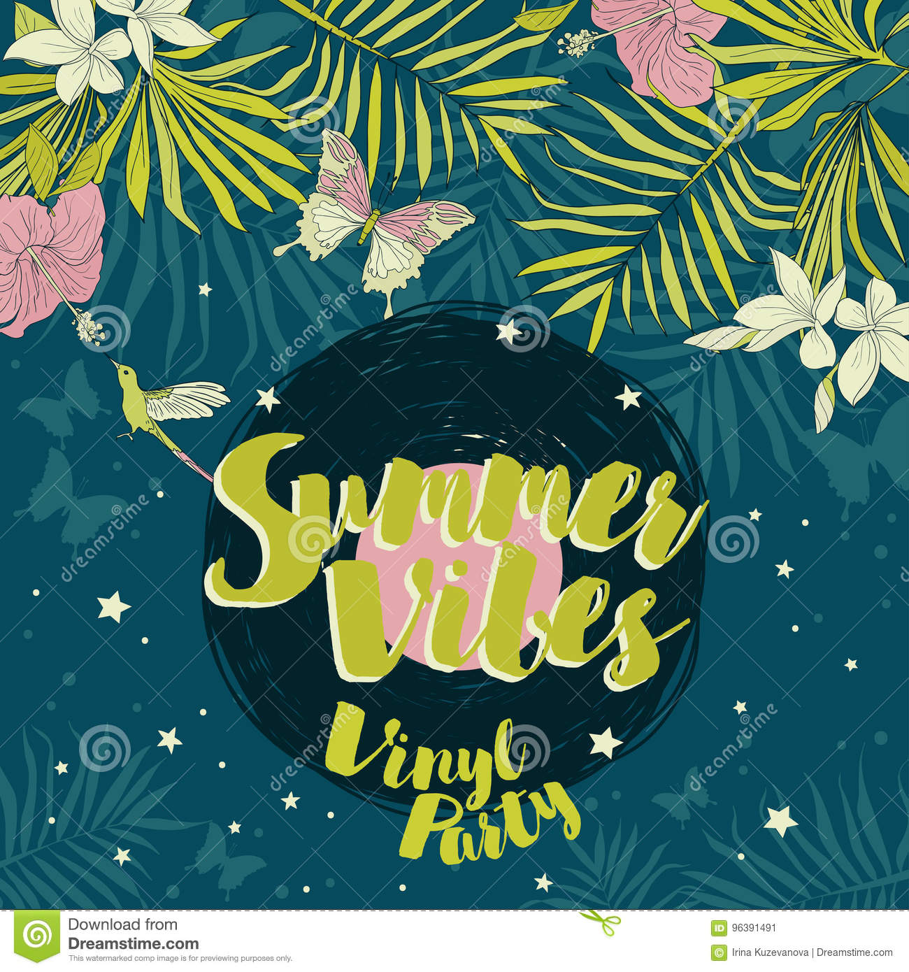 Disco Style Invitations In Trendy Tropical Stock Vector