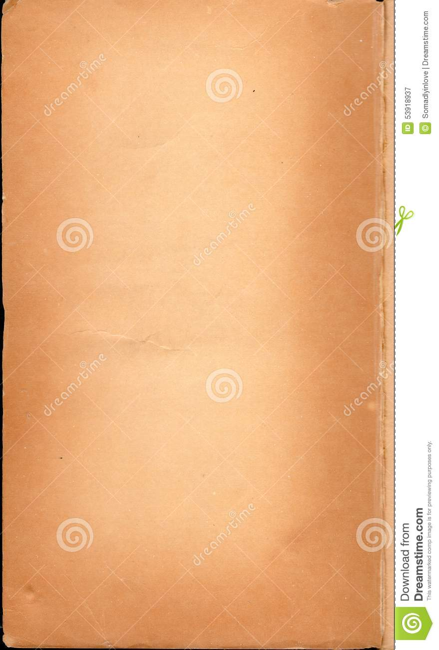 Creased Book Cover Texture : Discolored vintage print book end paper stock photo