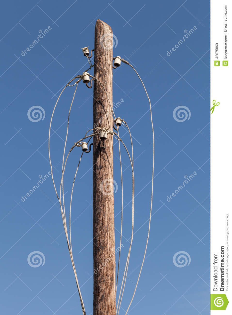 Disconnected Electric Wires On Wooden Pylon Stock Photo - Image of ...