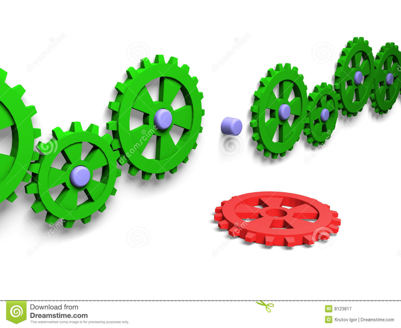 Disconnected gears royalty free stock photography image 8123817