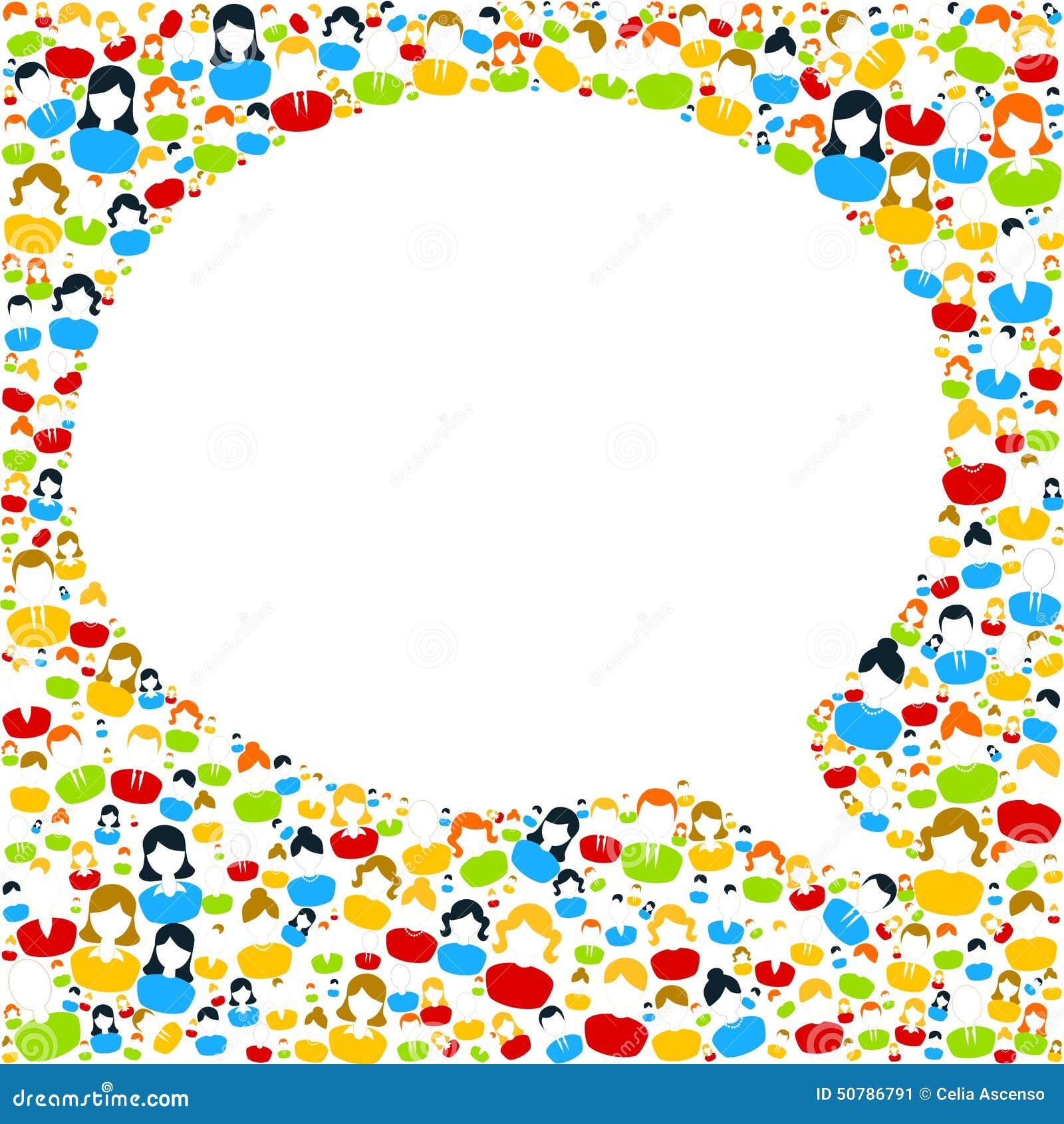 Discorso della bolla con le icone della gente