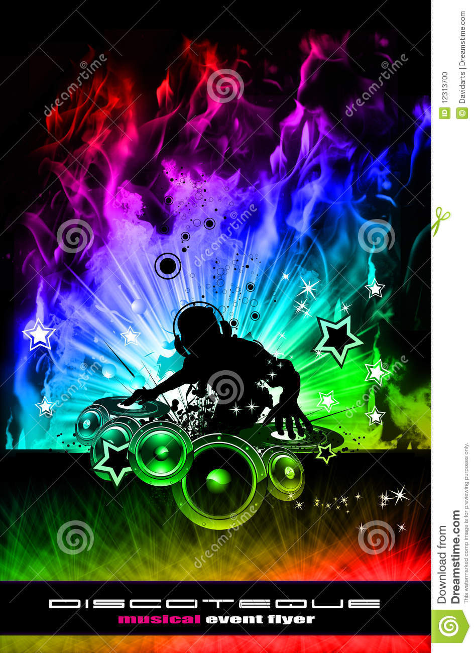 Discoteque Dj Flyer With Real Flames Stock Photo - Image: 12313700