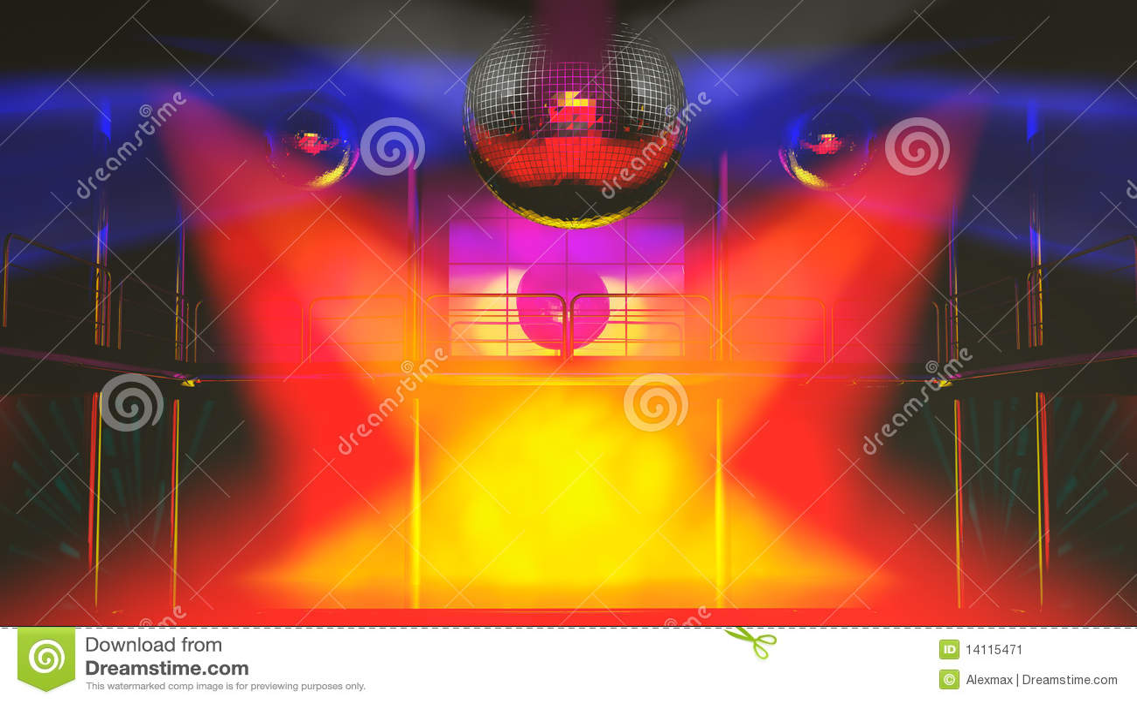 Discotheque клуба цветастый освещает ночу