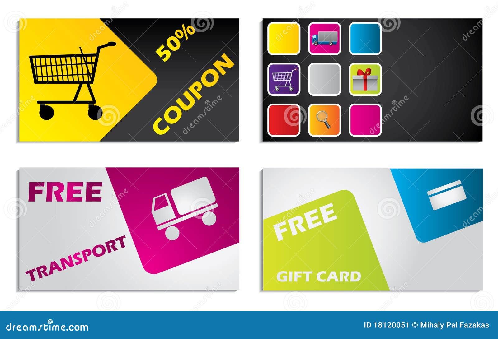 Design of discount card - Discount Card Design Set Stock Image