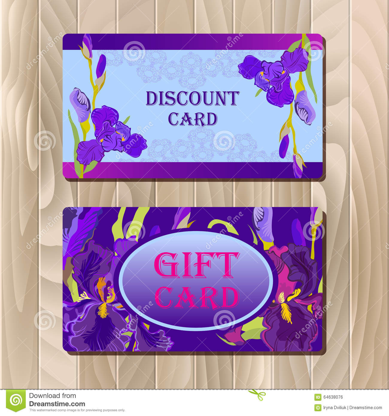 Design of discount card - Discount Card Template With Purple Iris Flower Design Royalty Free Stock Image