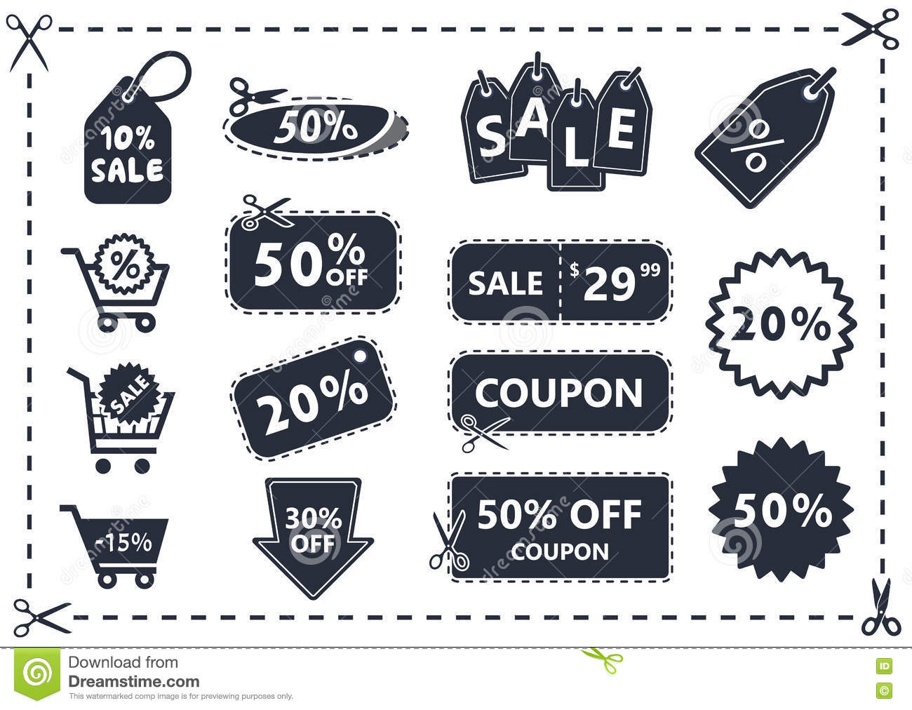 Discount Coupons Sale Icon Set Stock Vector Illustration Of Gift Sale 78945377