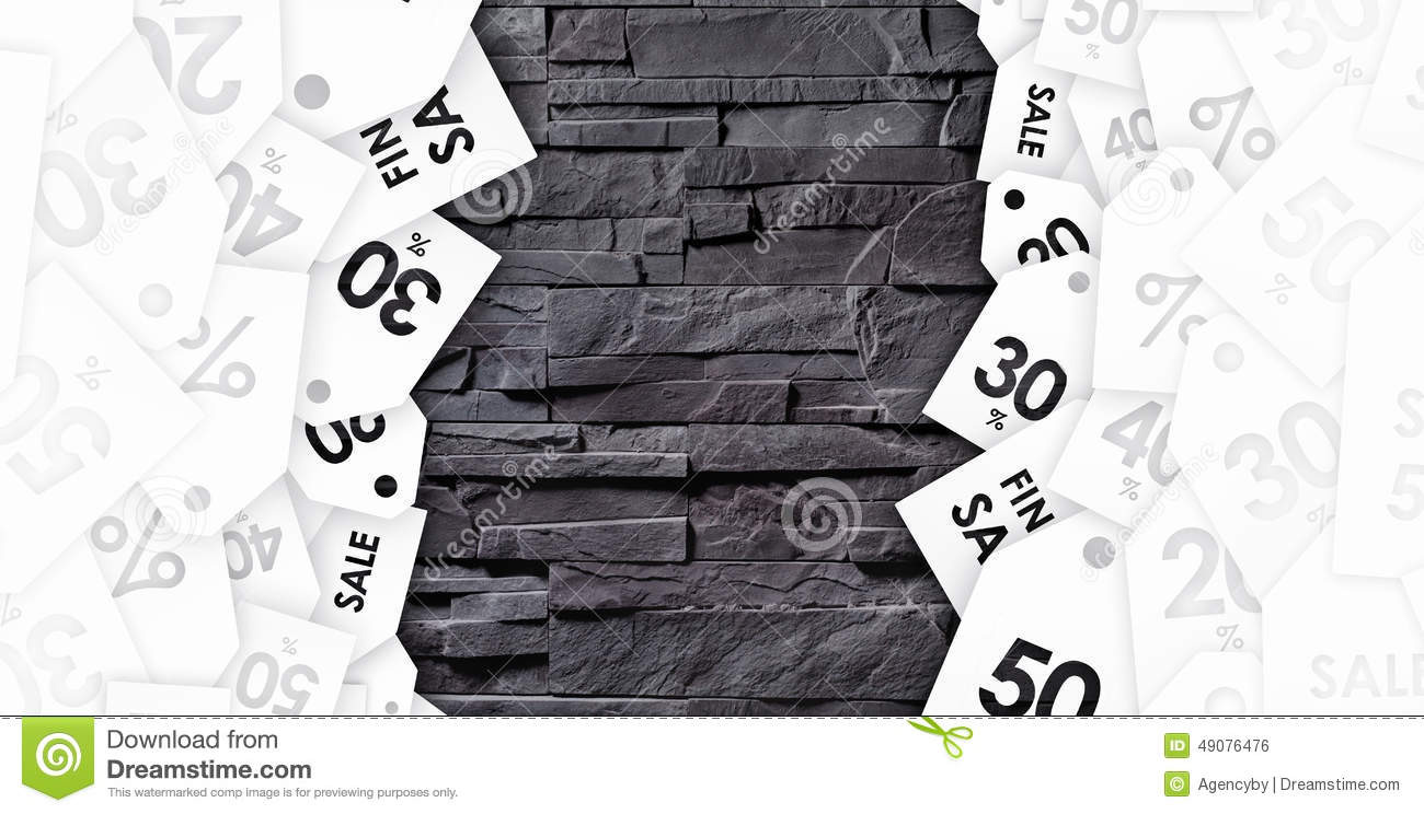 Discount coupons on texture of gray wall