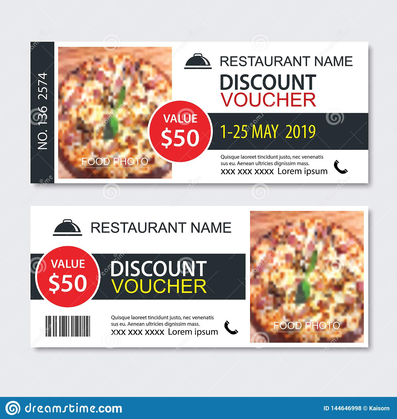 Discount Gift Voucher Fast Food Template Design  Pizza Set  Use For