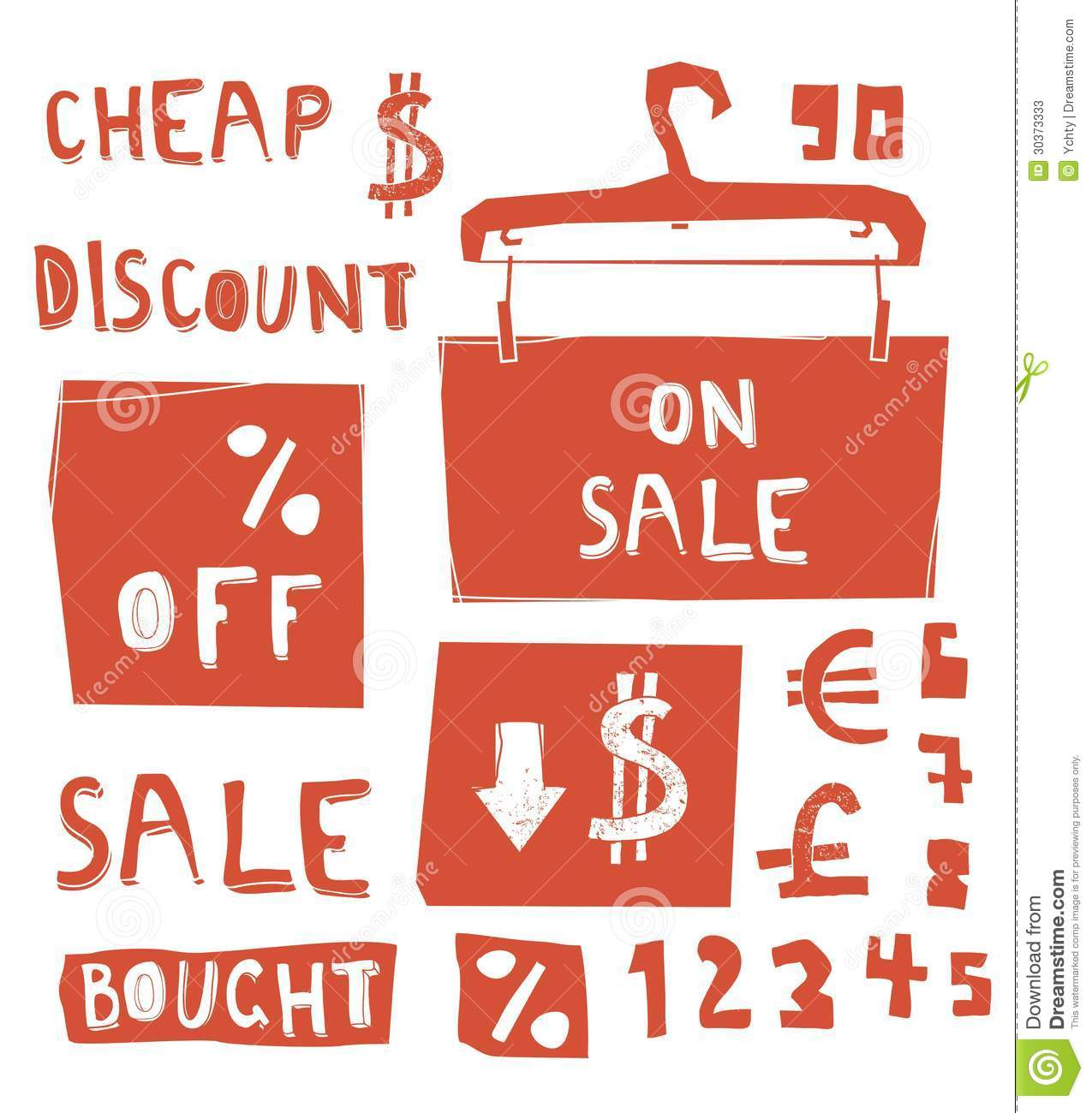 Discount Messages With Numbers And Currency Symbols Stock Vector