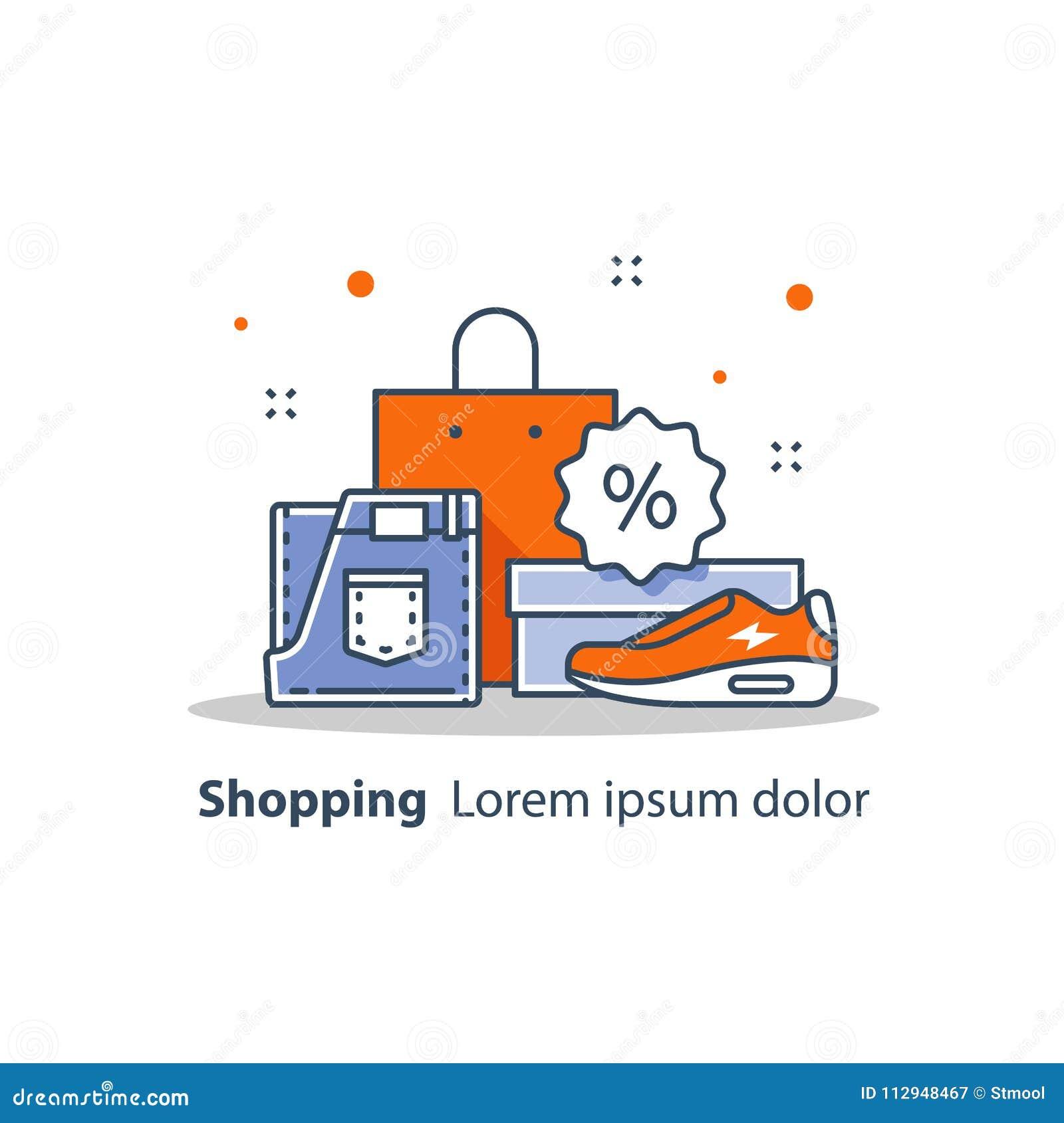 f229375cc2 Aviso de la venta de la tienda, discount, oferta especial, publicidad y  promoción, ropa y zapatos, línea icono, ejemplo plano del vector del diseño