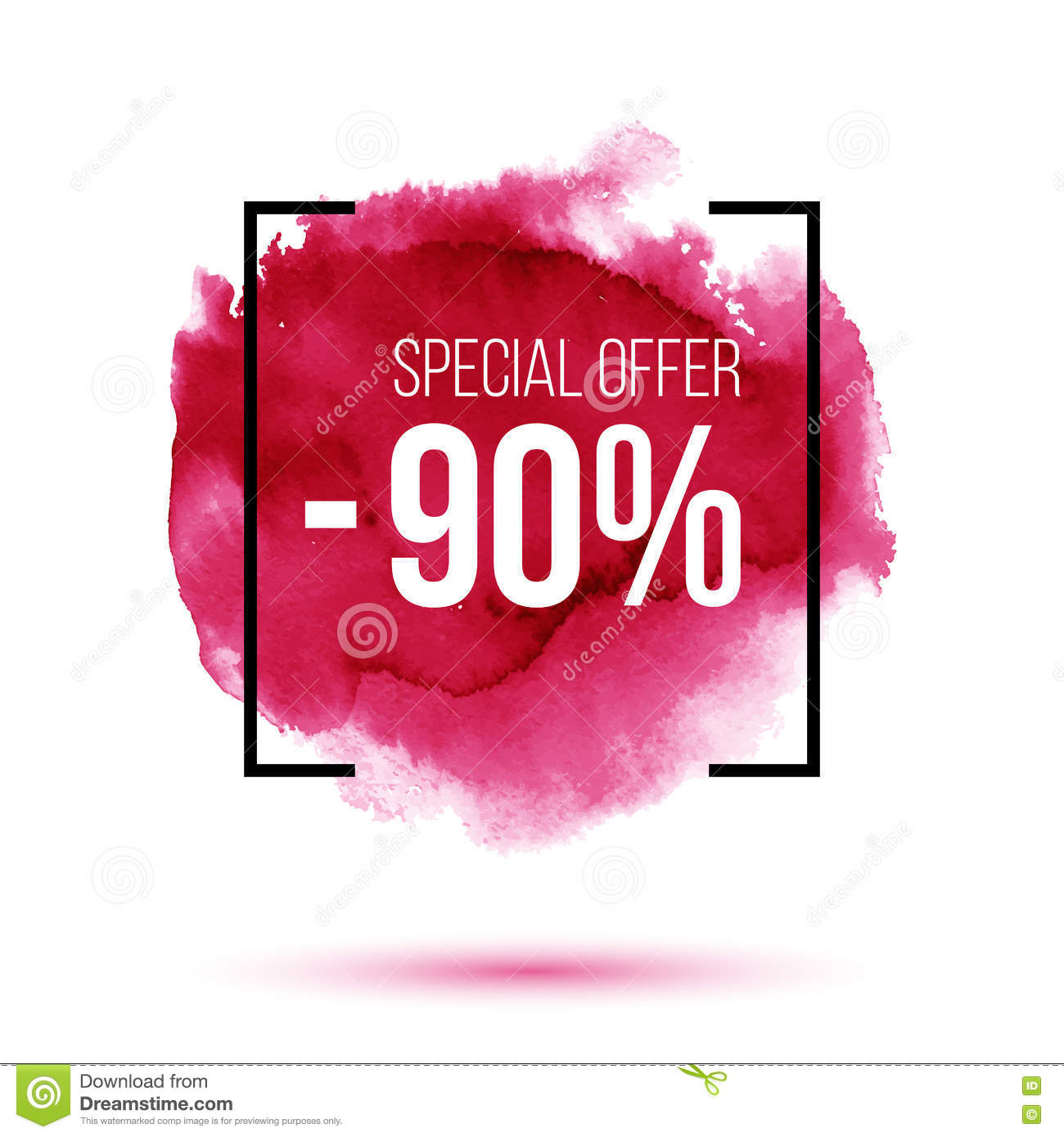 Discount 90 percent off sale on pink watercolour background