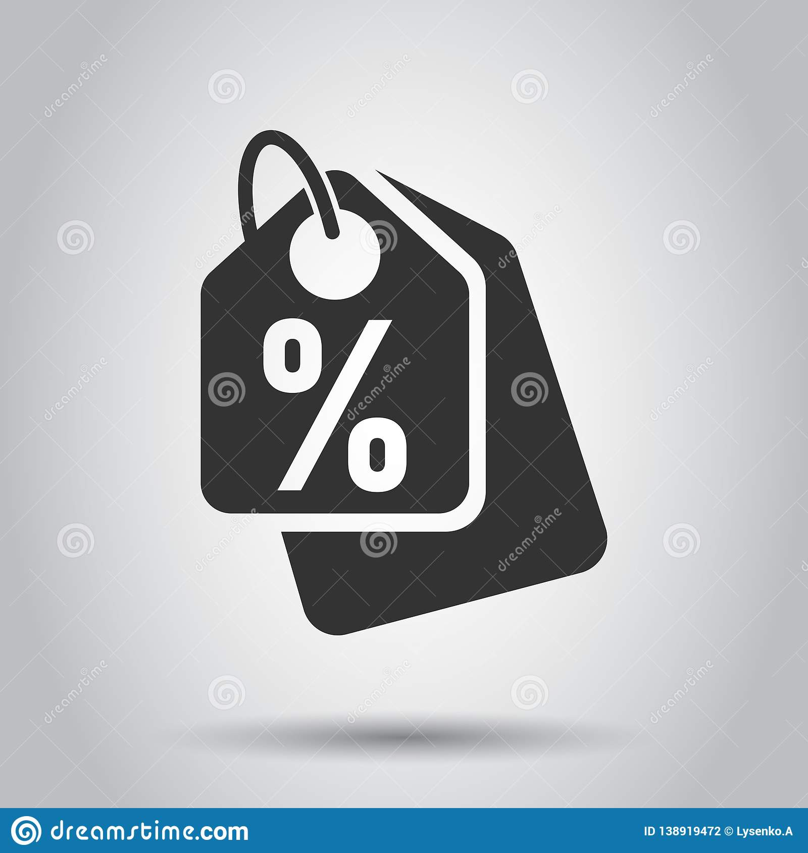 Discount shopping tag icon in flat style. Discount percent coupon illustration on white background. Shop badge business concept