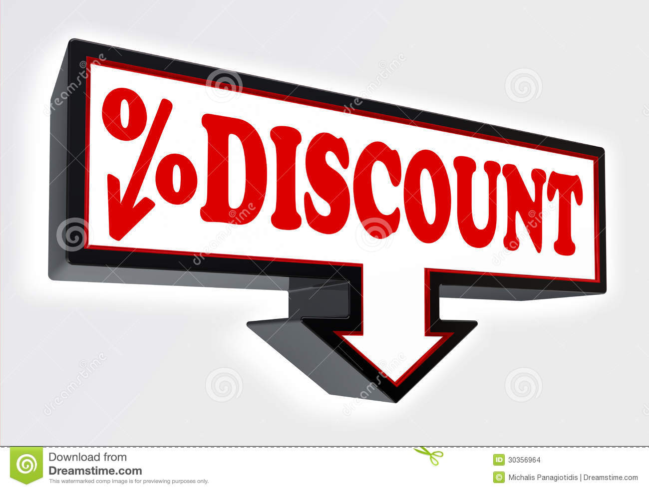 Discount Sign With Arrow Down And Per Cent Symbol Stock Illustration
