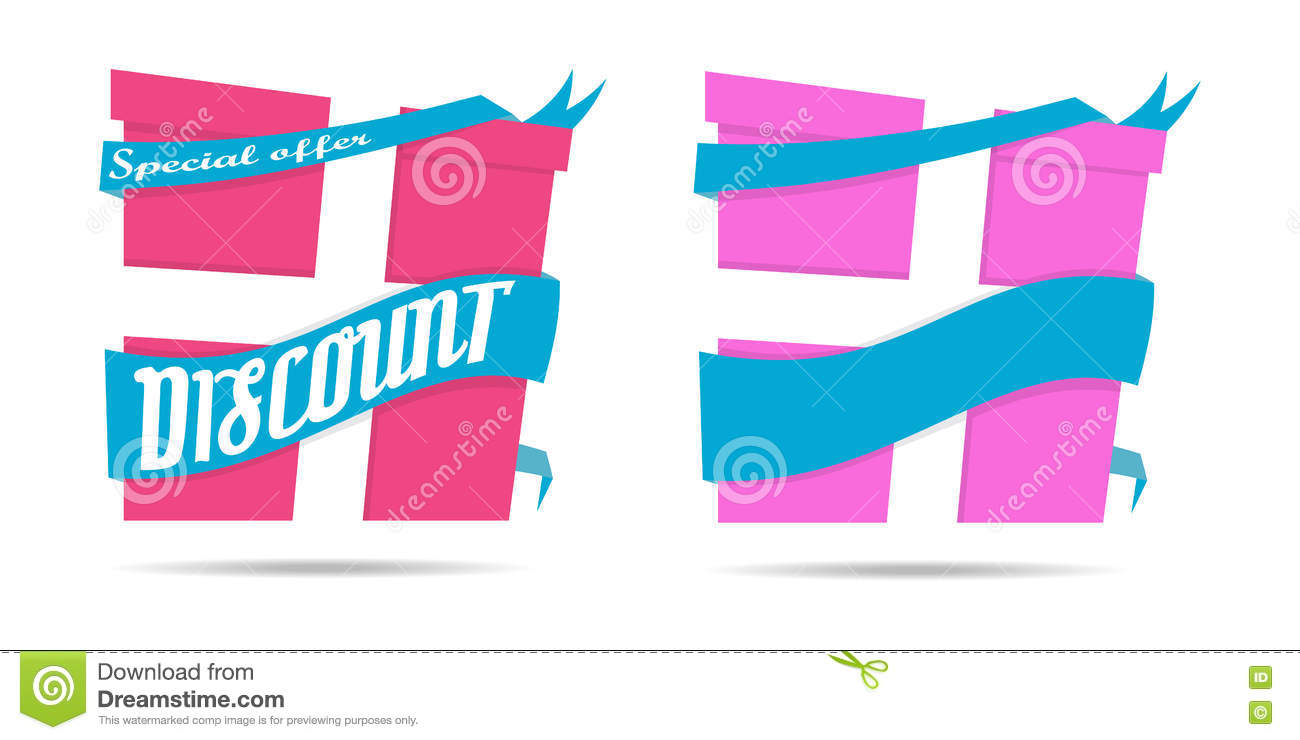 Discount sign gift icon.Suprise sale symbol business Special offer Paper ribbon vector illustration