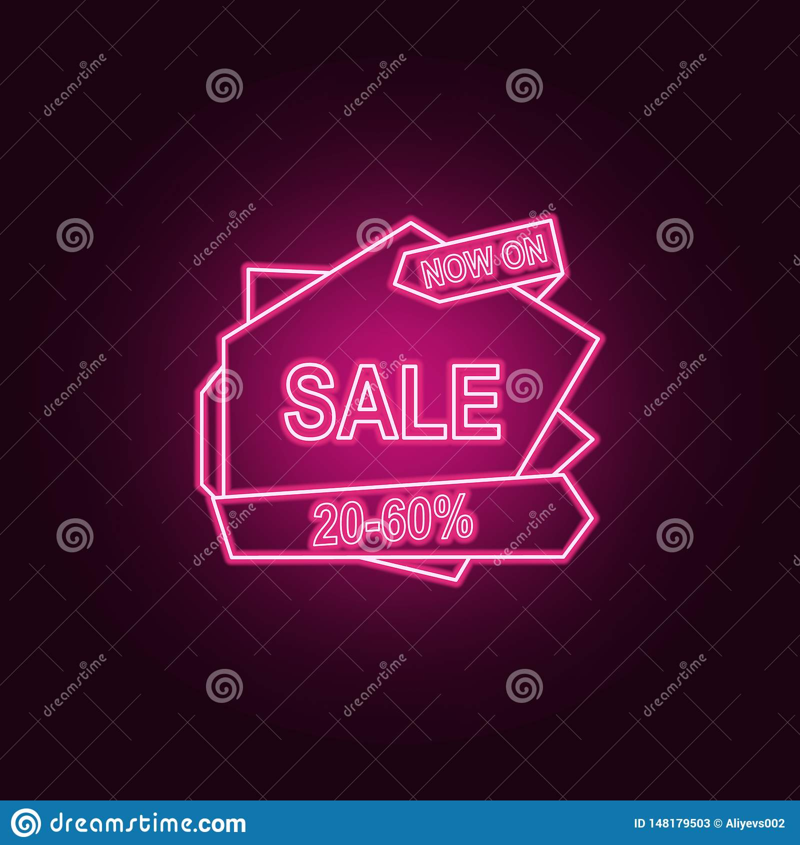 20-50 discount on the tape neon icon. Elements of Sale set. Simple icon for websites, web design, mobile app, info graphics
