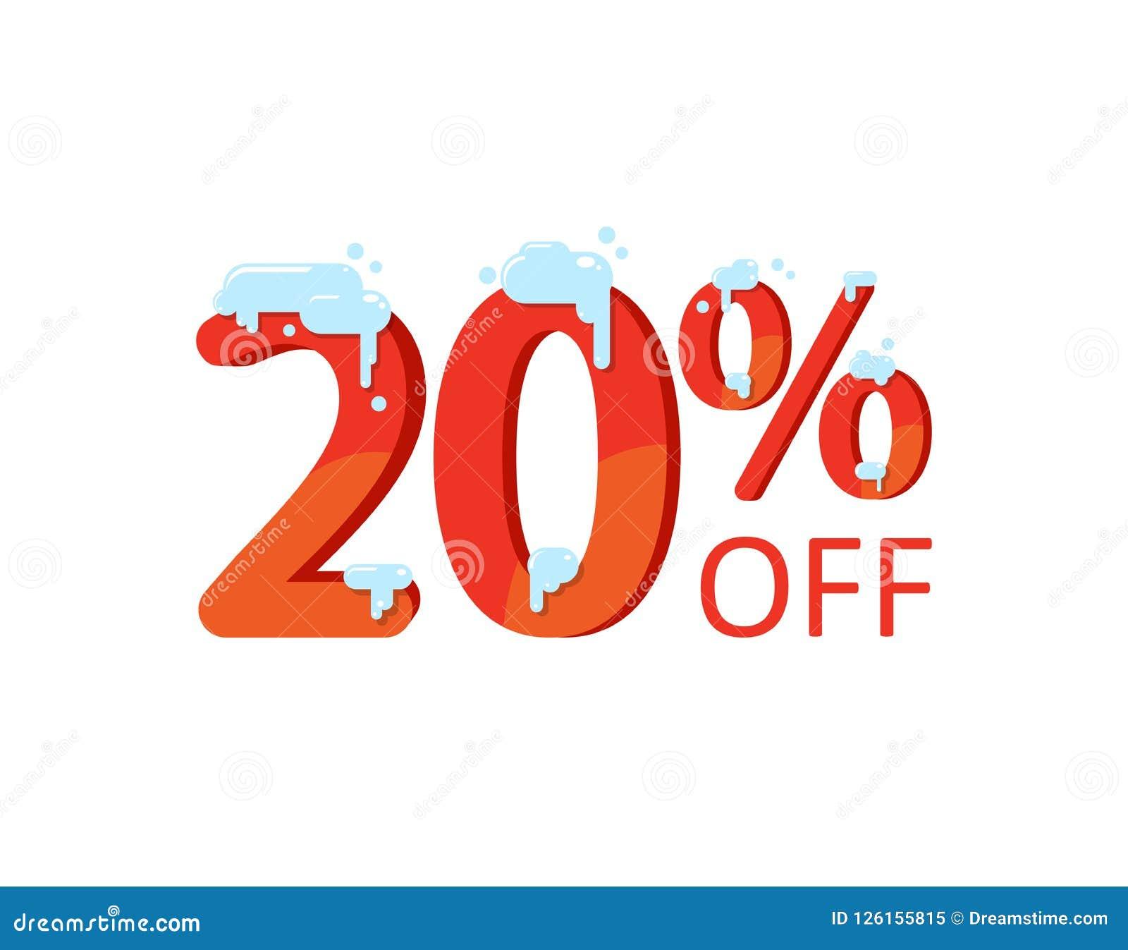 20 percent discount sign icon  sale symbol  cartoon vector