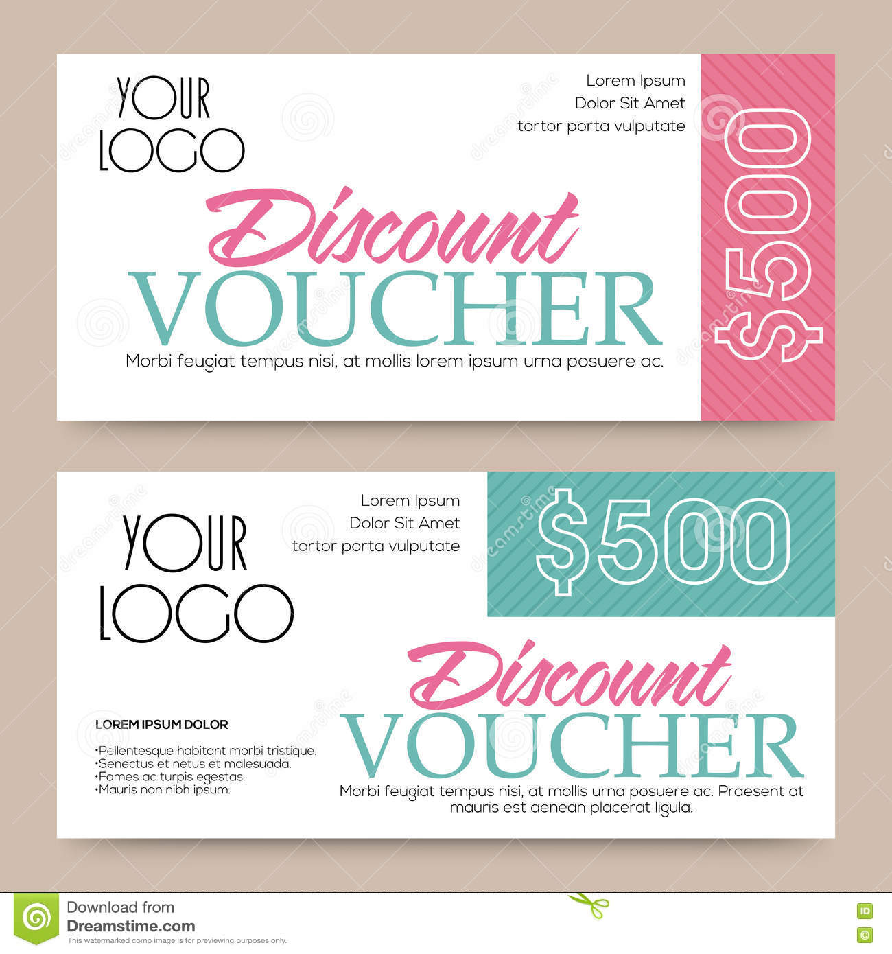Discount Voucher, Gift Card Or Coupon Design. Stock Illustration ...