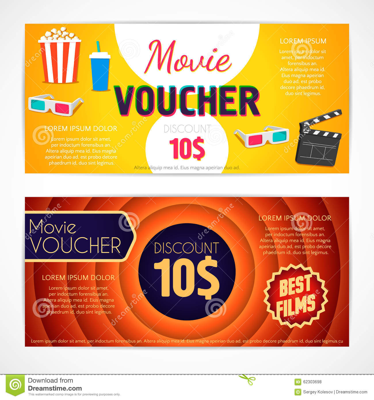 Discount Voucher Movie Template, Cinema Gift Certificate, Coupon. Royalty  Free Vector  Free Discount Vouchers
