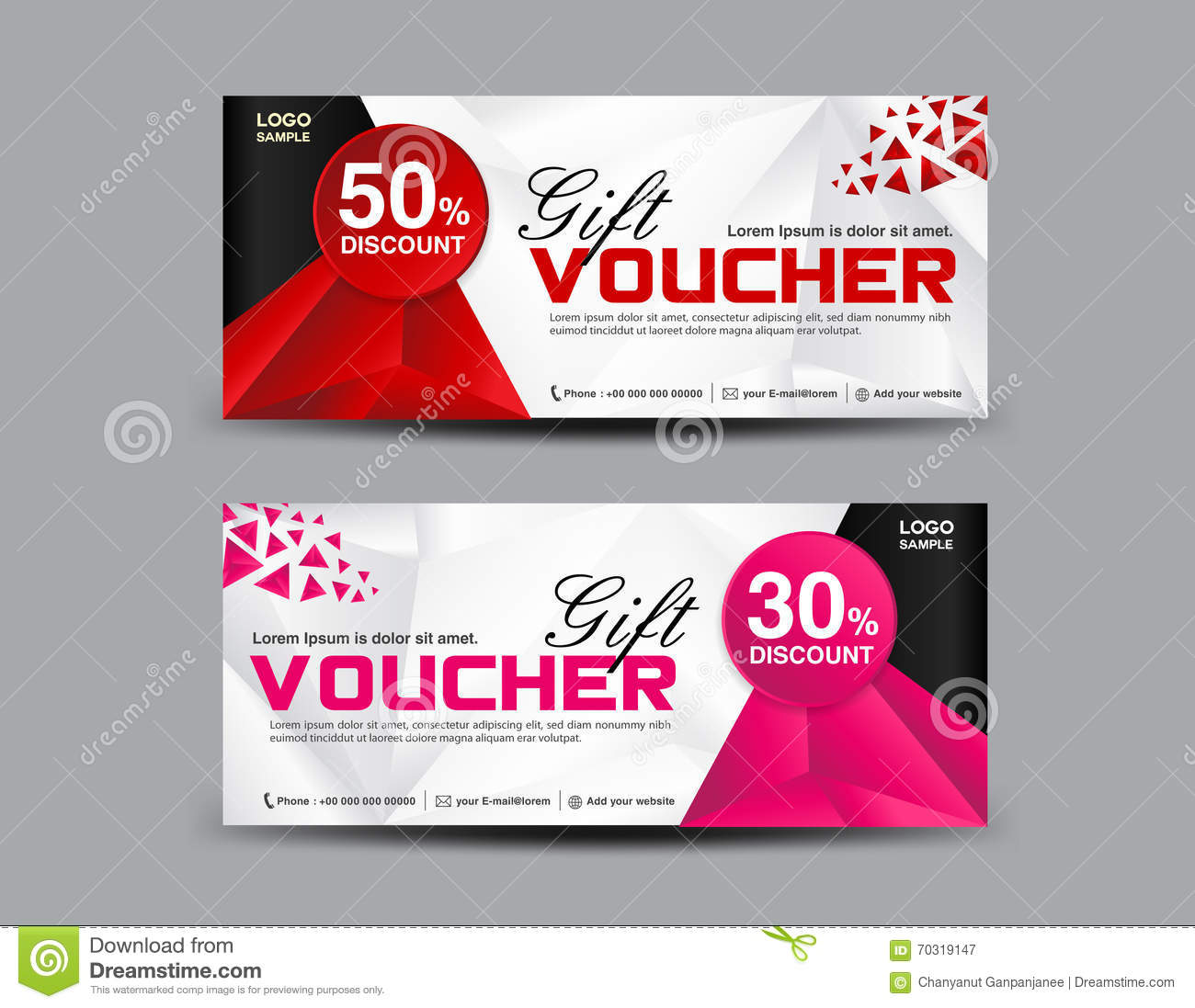 Discount Voucher Template, Coupon Design,ticket, Banner Template  Illustration 70319147   Megapixl  Free Printable Vouchers Templates
