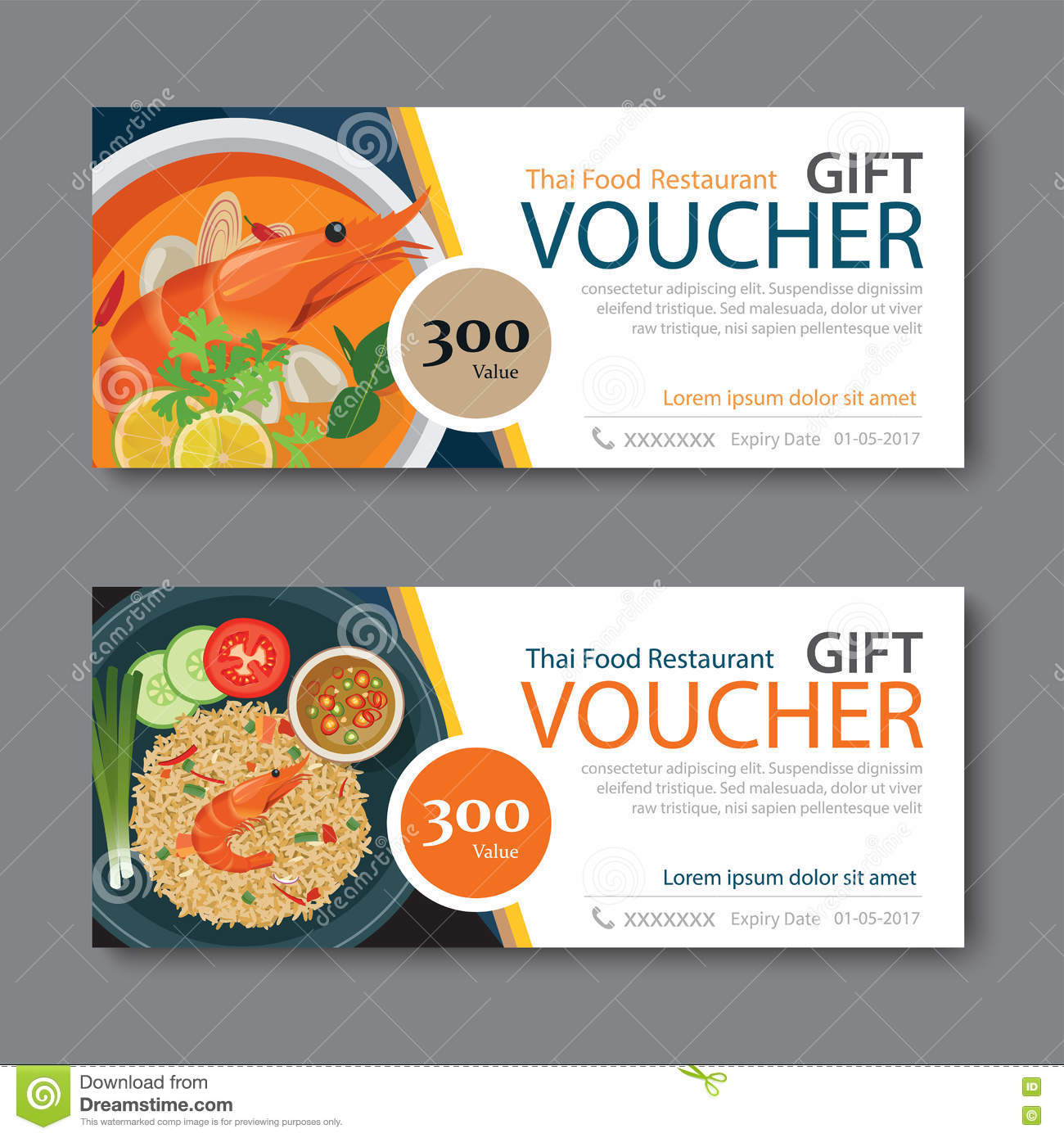 Discount Voucher Template With Thai Food Flat Design Illustration 72046078    Megapixl  Lunch Ticket Template