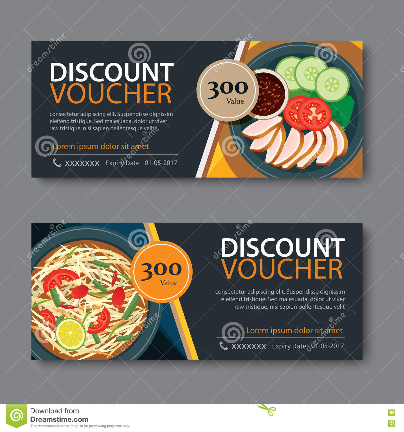 Discount Voucher Template With Thai Food Flat Design Stock Vector Discount Voucher  Template Thai Food Flat  Fun Voucher Template